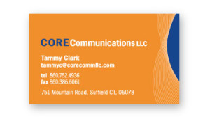Core Communication LLC Business Card launch promo colors