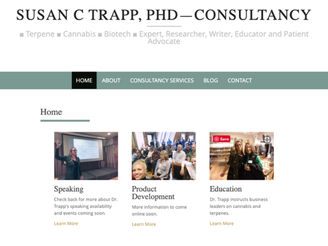 Susan C Trapp PhD Queen of Terpene–consultancy website
